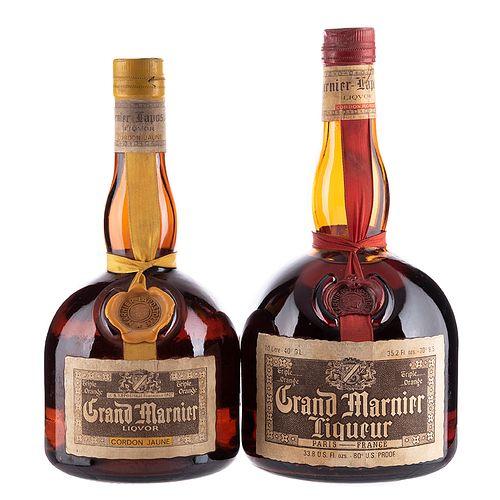 Grand Marnier. Cordon Rouge y Cordon Jaune. Licor de naranja. France. Piezas: 2.
