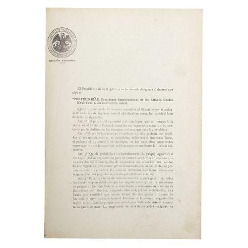 Díaz, Porfirio - Limantour, José Yves. Ley de Contribuciones al Pulque para el Año de 1897.