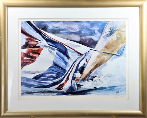 Sailing Lithograph, Signed