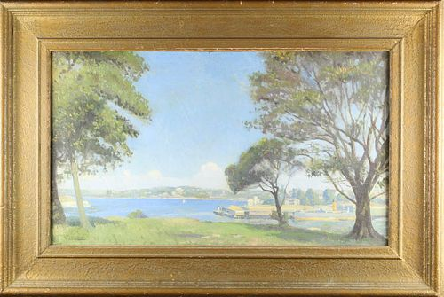 Australian, Sydney Harbor Scene Oil on Canvas