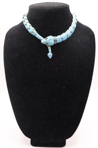 Mexican Vintage Sterling/Turquoise Snake Necklace