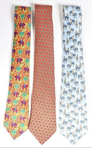 (3) Vintage Hermes Silk Ties