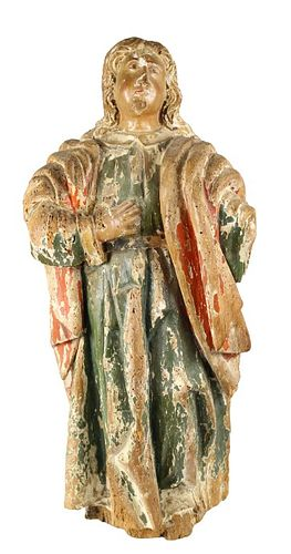 18th C. Polychrome Wood Carving of Saint