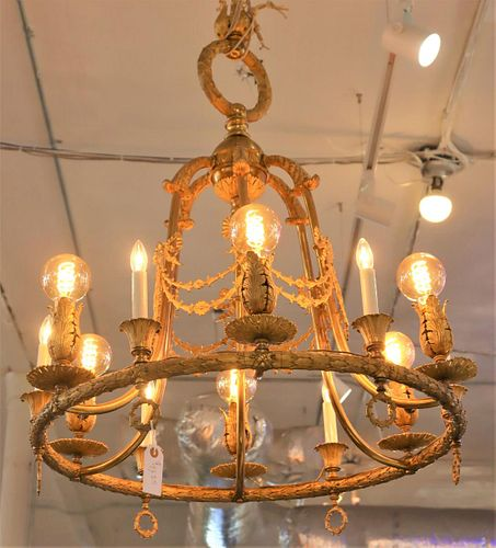 Early 20th C French Gilt Chandelier