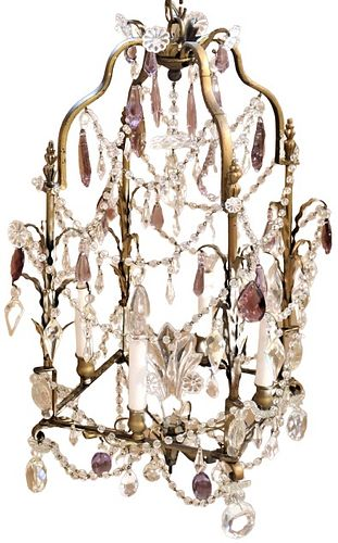 19th C French Chandelier Bronze w/ Prisms