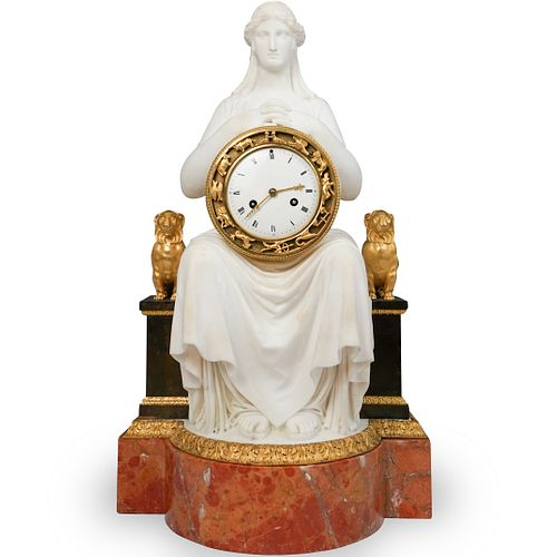 Important 19th Cent Empire Gilt Bronze and Ochre Marble Clock