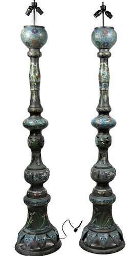 Monumental Pair Chinese Cloisonne Floor Lamps