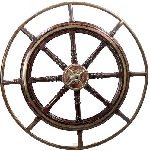 Monumental Antique Yachting Ships Wheel