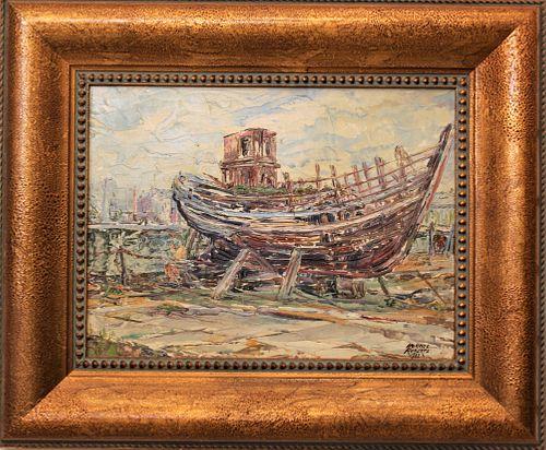 Shipyard Scene, Signed, Oil on Canvas w. Board