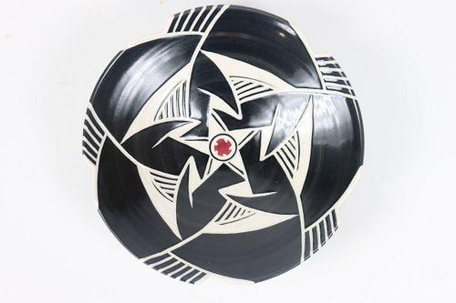 Signed Wayne Bates Geometric Pottery Center Bowl