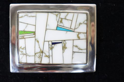 Turquoise Howlite Sterling Silver Belt Buckle