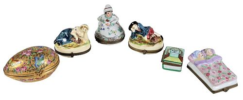 (6) Various Limoges Painted Porcelain Boxes