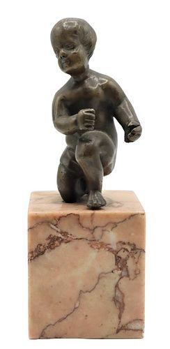 French Bronze Kneeling Child