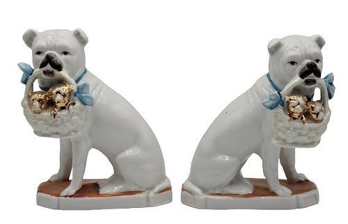 Pair of Porcelain Dogs with Puppy Baskets