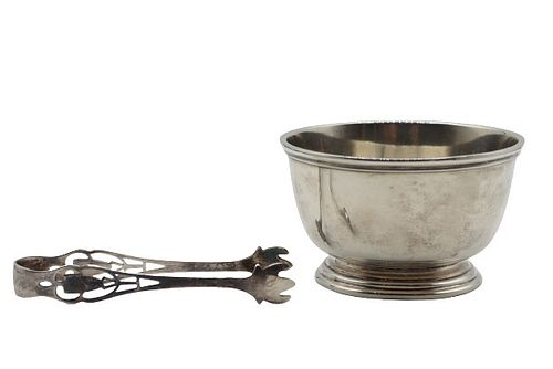 Small Sterling Bowl with Tongs 4.32 Ozt.