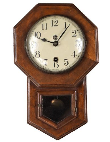 Waterbury Clock Co. Wooden Wall Hanging Clock