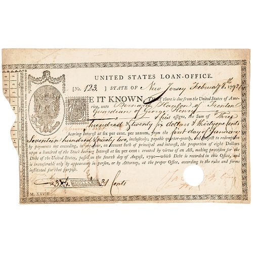 1790 United States Loan Certificate By Congress, Continental Currency Redemption
