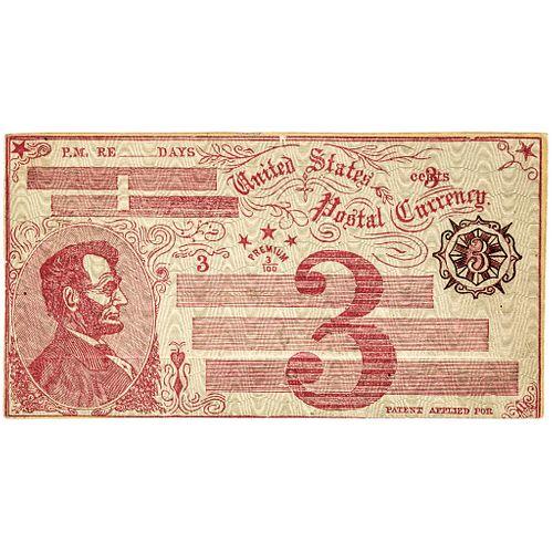 Unique 1869 Fisk Mills Abraham Lincoln Vignette Envelope Postal Currency Essay!