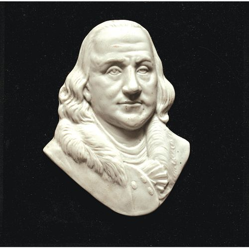Benjamin Franklin Portrait High-Relief Bust on a Wooden Base Plaque for Display