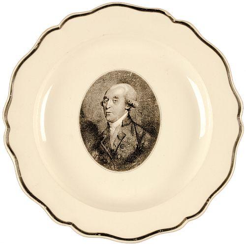 1812 Unique 4th U.S. President James Madison Portrait Historical Liverpool Plate