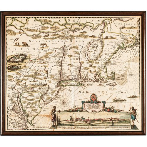 c. 1684 Hand-Colored Map, American Northeast, Novi Belgii Noveque Anglinae...