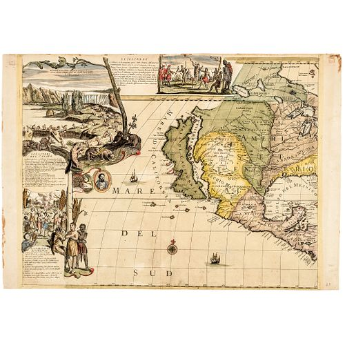 c 1700 Handcolored Engraved Map of Western American with California as an Island