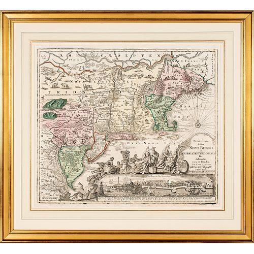 c 1760 Hand-Colored Map, the American Northeast, Recens Edita totius Novi Belgii