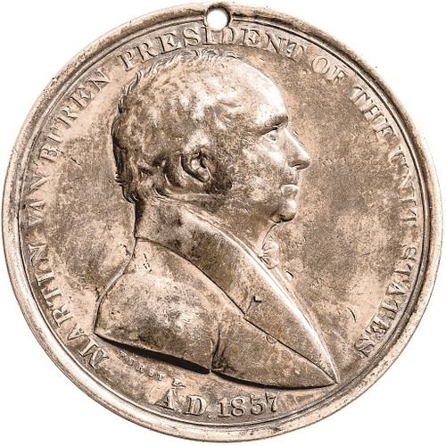 1837 Silver Martin Van Buren Indian Peace Medal, PCGS Certified GENUINE EF