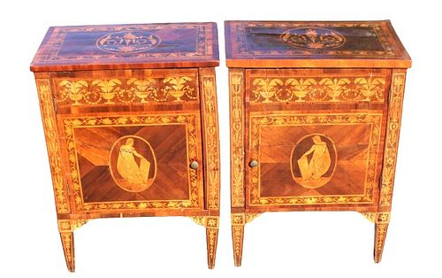 Pair of Antique Marquetry Nightstands