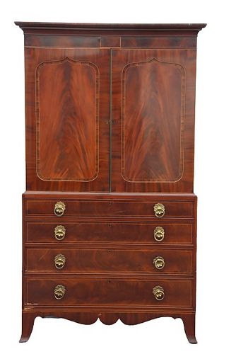 19th C. English Linen Press Flamed Mahogany