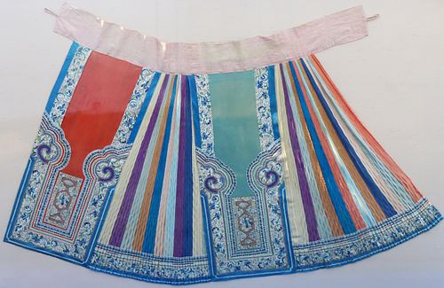 Qing Dynasty Manchu Embroidered Silk Skirt