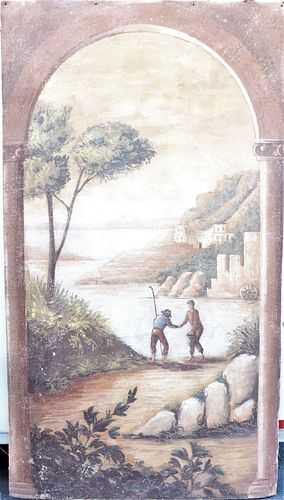 Large Italian Style Hand Painted Fresco
