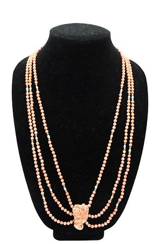 Three-Strand Coral & Seed Pearl Necklace