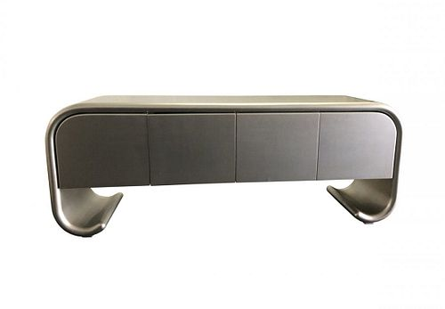 Karl Springer Style Sideboard with Scrolled Legs