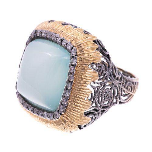 A 14K White & Yellow Gold Chalcedony Diamond Ring