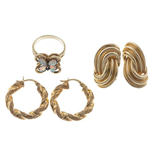 A Collection of 14K Earrings & Opal Butterfly Ring