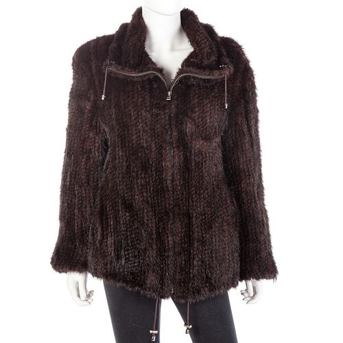 Chocolate Brown Mink Tail Bomber-Style Jacket