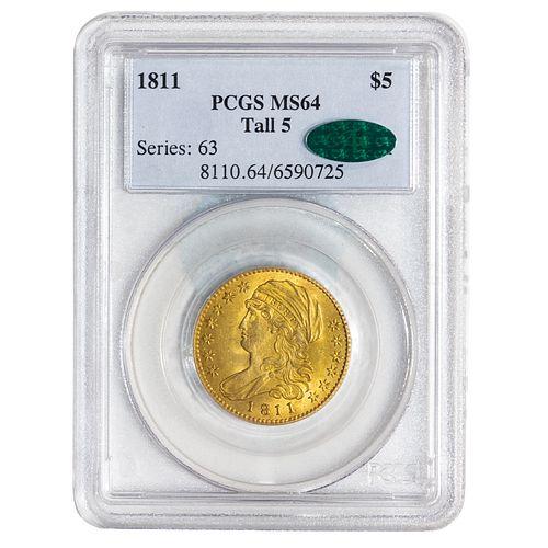 1811 Tall 5 Gold $5 Half Eagle PCGS MS64 CAC