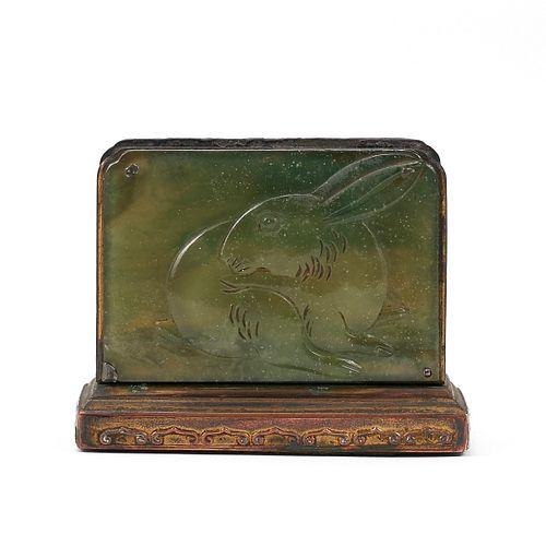Chinese Peking Glass Rabbit Match Holder