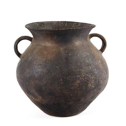 Large Black Two-Handle North American Olla