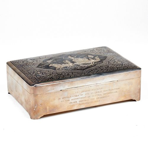 Large Thai Silver Nielloware Box - Inscribed