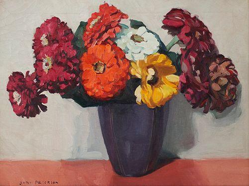 "Jane Peterson ""Nine Zinnias in Purple Vase"" Oil on Canvas"