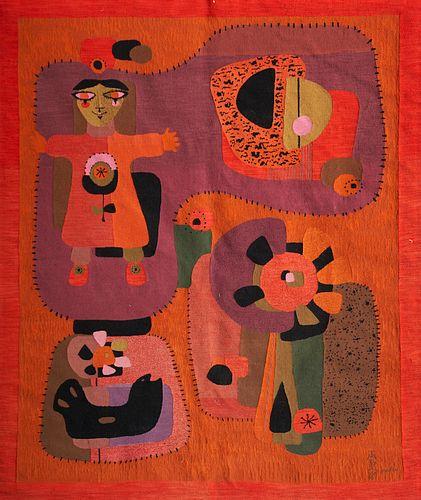 "Maria Flavia ""Menina Com Girassol"" Wool Tapestry"