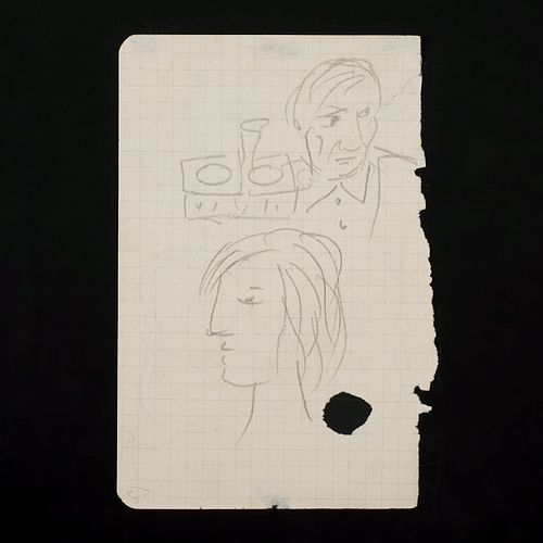 """Picasso """"Self Portrait with Marie-Therese Walter"""" Double Sided Pencil Drawing"""