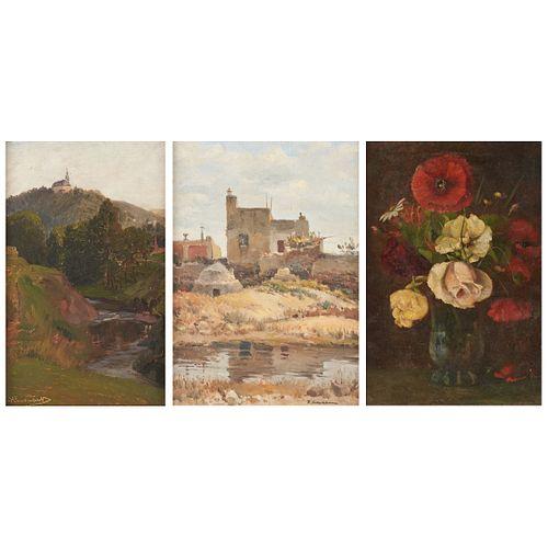 Grp: 3 Paintings Landscape Still Life