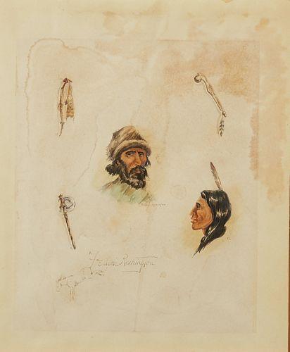 "Attrib. Frederic Remington ""The Song of Hiawatha"" Sketches"