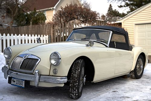1958 White MG Convertible Off White Color w/ Red Interior