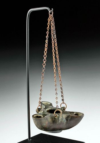 Petite Roman Bronze Three Spouted Oil Lamp