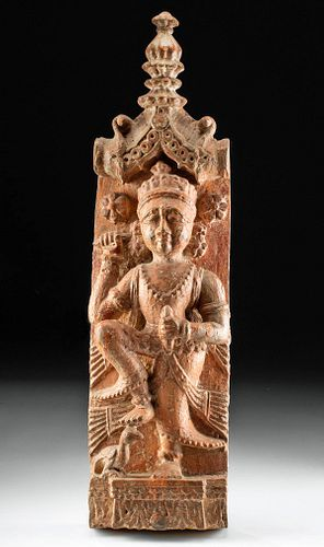 19th C. Indian Wood Relief Panel of Deity