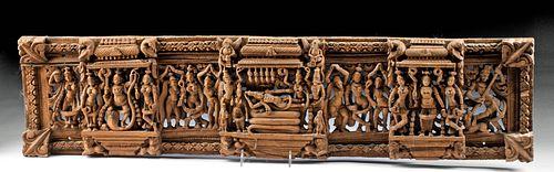 19th C. Indian Wood Devotional Panel w/ Vishnu & Shesha
